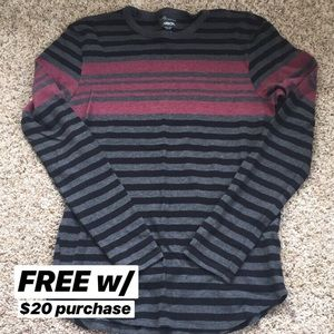 Carbon Black, Gray, and Red Striped Long Sleeve